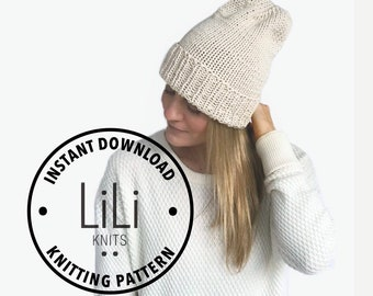 Pattern | LiLiKnits Knit Foldover Brim Hat | THE STILE BEANIE | Instant Download