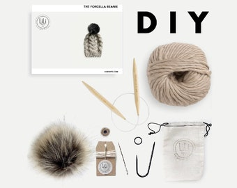 DIY Luxury Knitting Kit | Cabled Hat with Faux Fur Pom | The Forcella