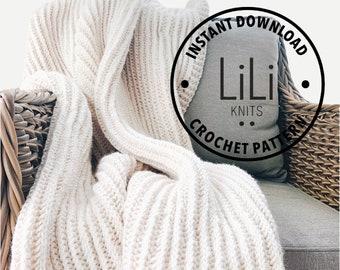 Crochet Pattern | LiLiKnits Ribbed Crochet Blanket Throw Afghan Pattern | THE LEGGERA | Instant Download