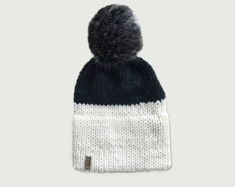 Double Brim Knit Beanie Hat with White Faux Fur Pom Charcoal  9f85a7fc1966
