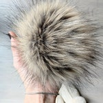 FAUX Fur Pom with Detachable Snap for Knit Hat | RACCOON