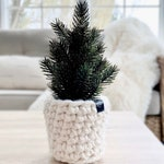 Faux MINI CHRISTMAS TREE with crochet planter sleeve