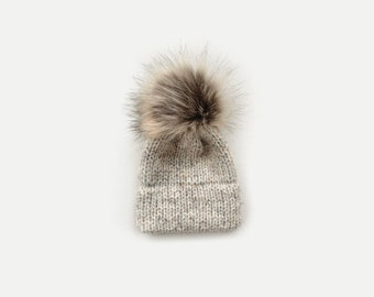 Double Brim Knit Beanie Hat with detachable Faux Fur Pom Newborn/Baby/Toddler/Child/Kids| THE BERRETTO