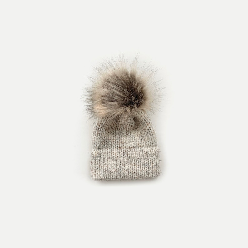 Double Brim Knit Beanie Hat with detachable Faux Fur Pom image 0