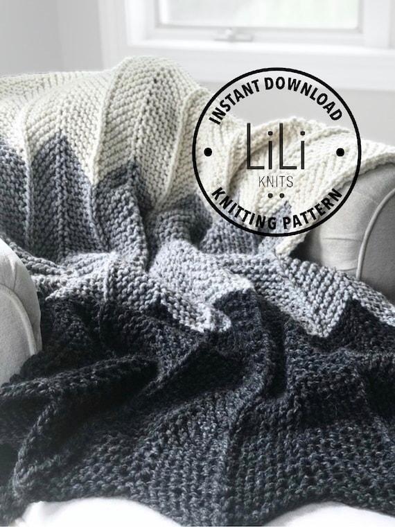 Knitting Pattern Liliknits Chunky Knit Ombre Chevron Blanket Etsy