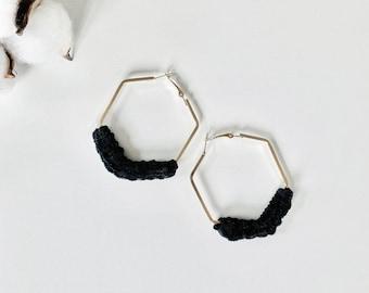 Minimalist Gold Silver Hexagon Velvet Earrings | BLACK
