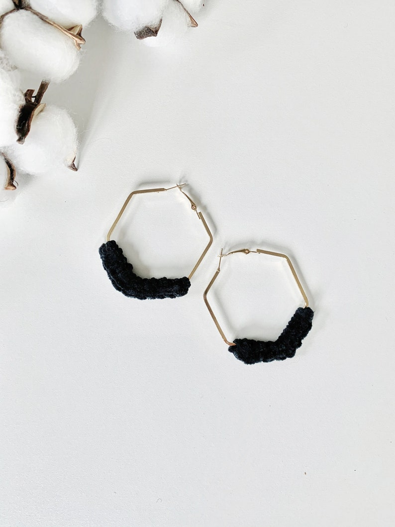Minimalist Gold Silver Hexagon Velvet Earrings  BLACK Black