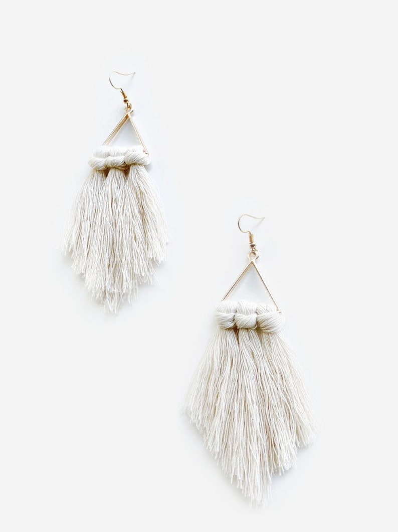 Minimalist Triangle Macrame Fringe Earrings ivory