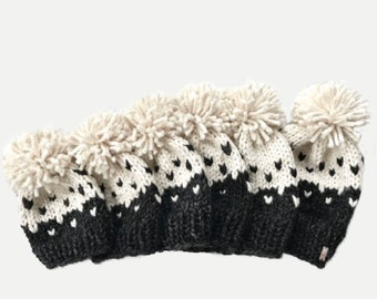 Chunky Knit Two-Tone Fair Isle Hat with Pom   newborn, baby, toddler, child, Cream Fisherman/Charcoal Grey   THE MODELLO