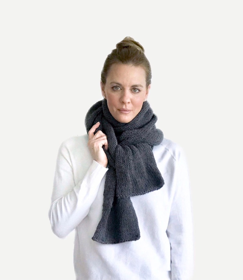 Double Knit XL Open-Ended Scarf  charcoal grey  THE VENETIAN image 0