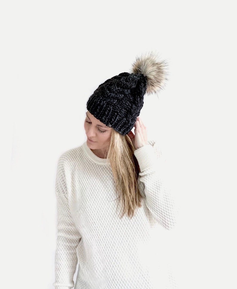 LUXURY  Chunky Knit Cabled Hat with detachable Faux Fur Pom  image 0