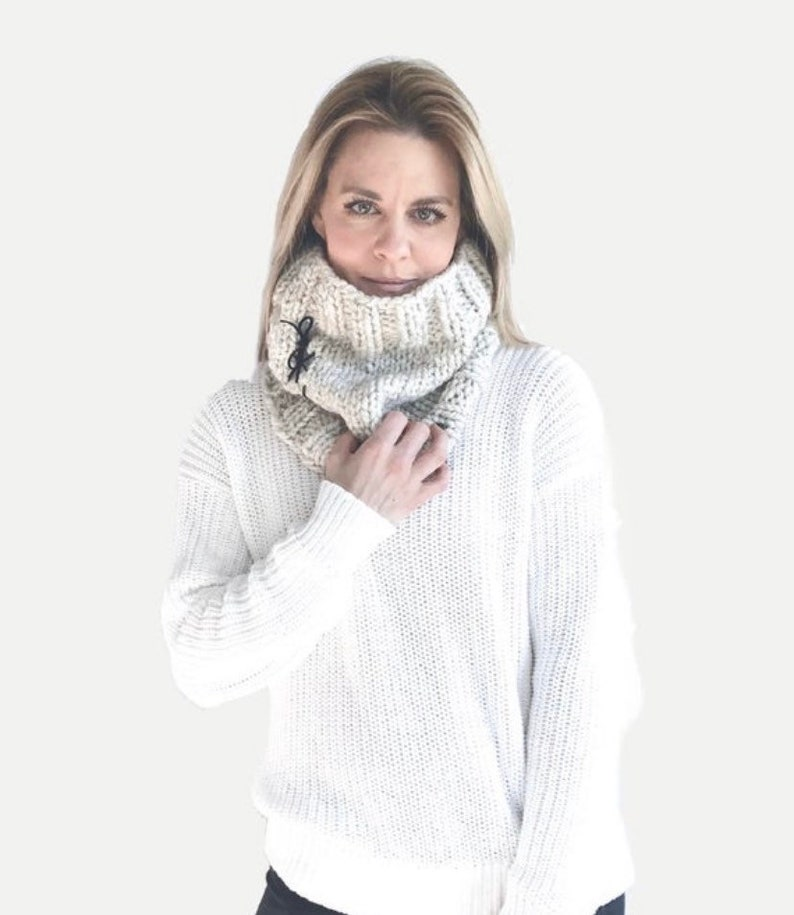 Chunky Knit Cowl with Leather Ties  THE URBANO Wheat