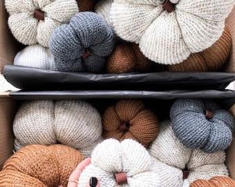 Stuffed Knit Pumpkin With Genuine Leather Stem | MEDIUM