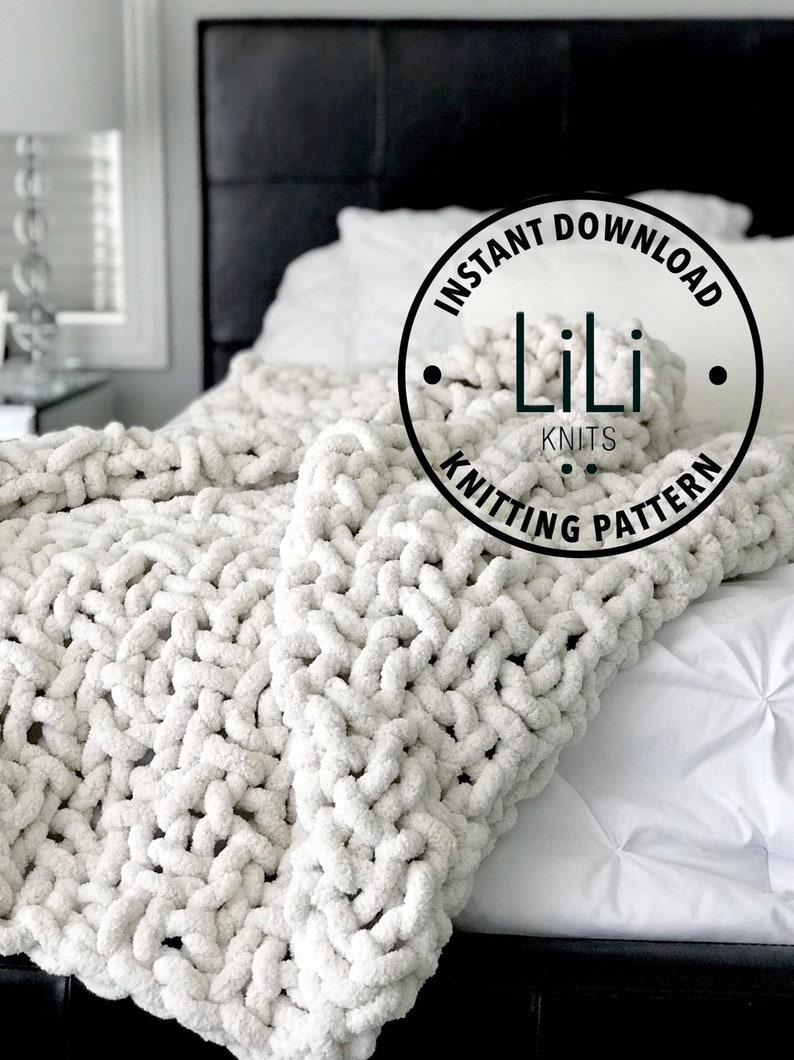 Knitting Pattern  LiLiKnits Giant Huge Jumbo Knit Throw image 0