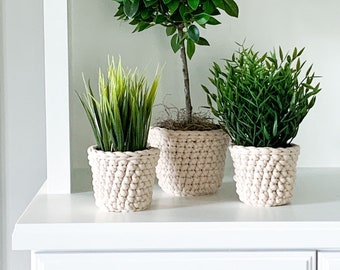 Faux MINI TREE SET with crochet planter sleeves | Set of 3