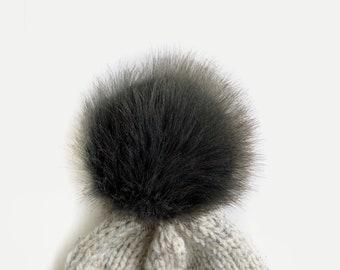 "XL Faux Fur Pom with Detachable Snap for Knit Crochet Hat | ALPINE GREY 6"""