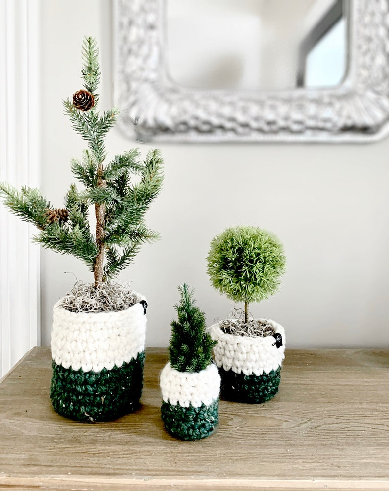 Faux MINI CHRISTMAS TREES with crochet planter sleeves  Set image 0