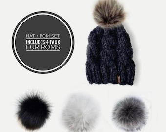 Chunky Knit Cabled Hat + Detachable Faux Fur Pom Set | Grey | THE TRECCIA