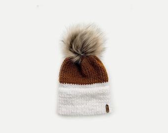 Double Brim Knit Beanie Hat with detachable Faux Fur Pom | Two-Tone | THE BERRETTO