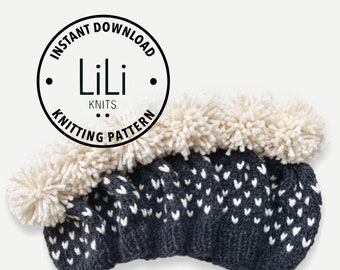 Pattern   LiLiKnits Chunky Knit Fair Isle Hat Set Pattern   Baby/Toddler/Child/Adult   THE MODA   Instant Download