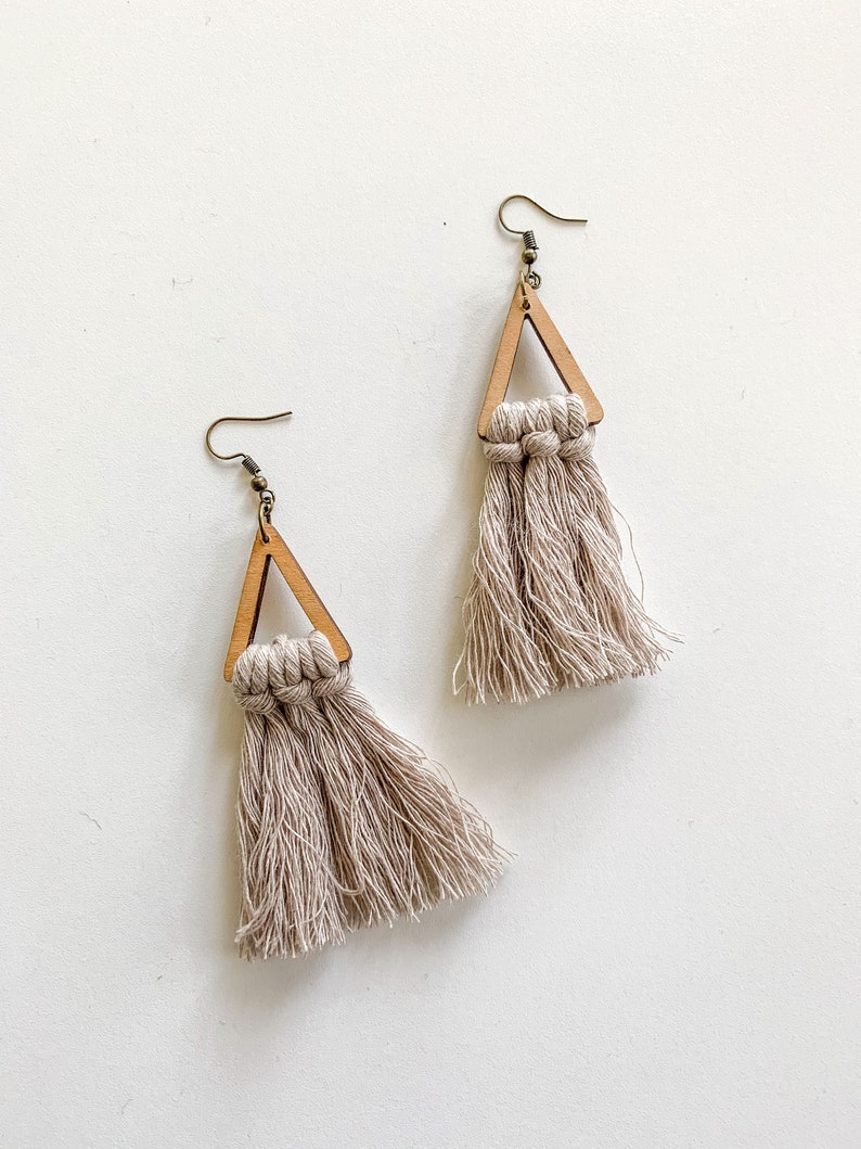 Minimalist Wood Triangle Macrame Fringe Earrings image 0