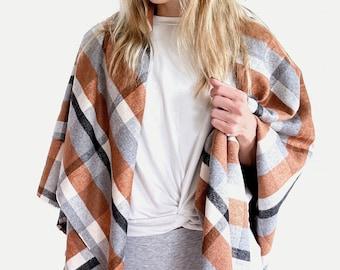 Plaid Wool Fabric Blanket Scarf Wrap Shawl