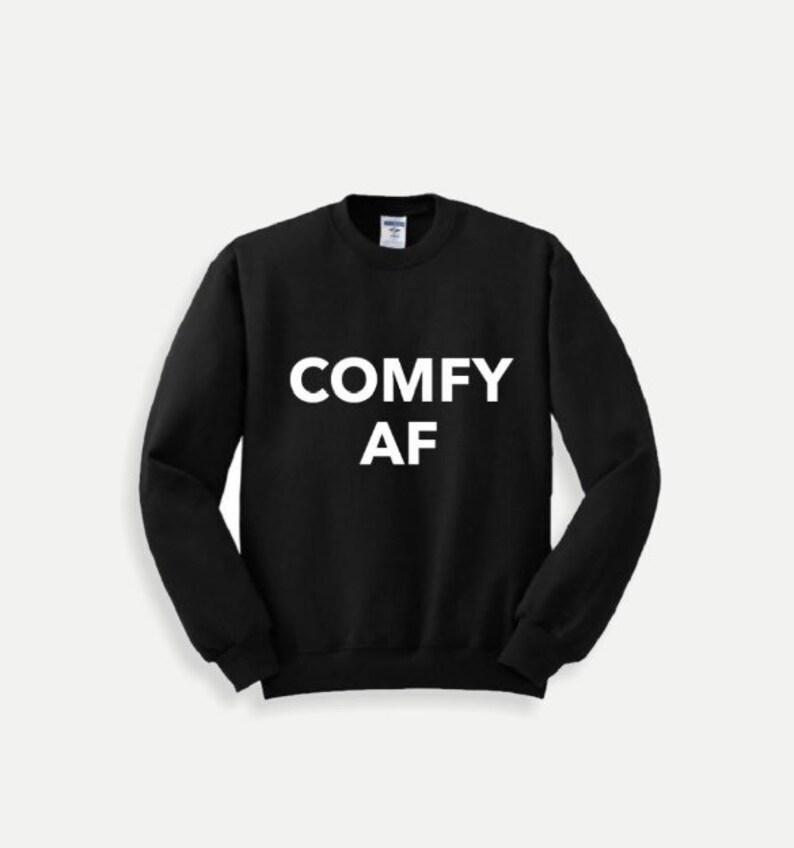 Graphic Crewneck Sweatshirt  COMFY AF  Black/White image 0