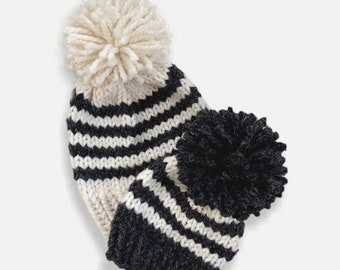Chunky Knit Striped Mommy + Me Hat Set with  Pom   Charcoal/Fisherman   THE BANDA