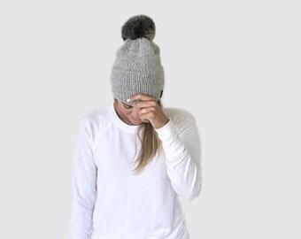 Double Brim Knit Beanie Hat with detachable Fur Pom | THE BERRETTO