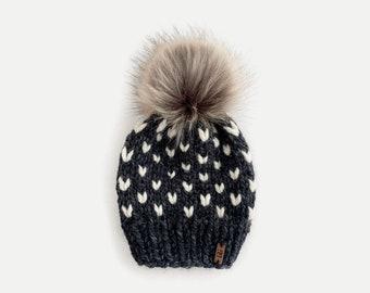 Chunky Knit Fair Isle Slouchy Hat with fur pom | charcoal Grey Gray/Ivory Fisherman | THE MODA