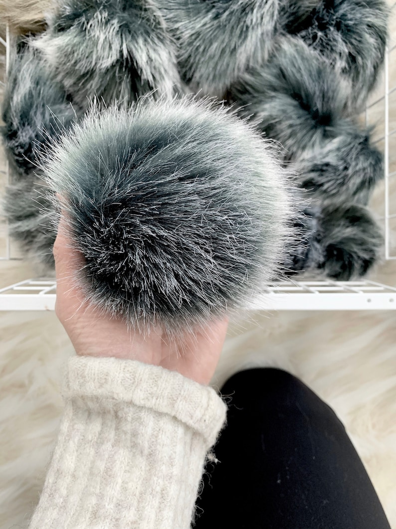 Faux Fur Pom with Detachable Snap for Knit / Crochet Beanie image 0