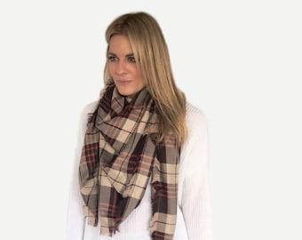 Fabric Blanket Triangle Scarf |Shawl | brown/orange/tan Checkered Plaid