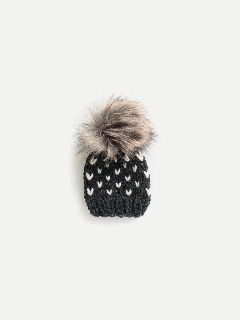 Chunky Knit Fair Isle Hat with Faux Fur Pom  newborn baby image 0