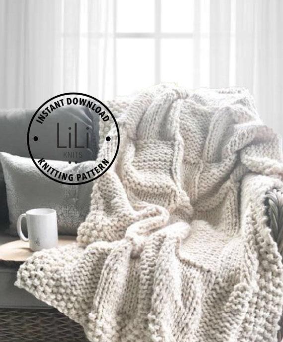 Knitting Pattern LiLiKnits Chunky Knit Basketweave Blanket | Etsy