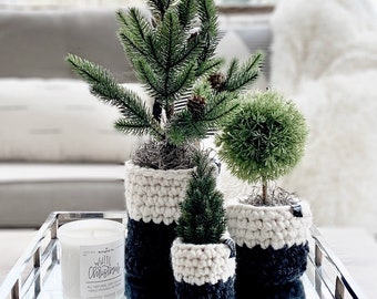 Faux MINI CHRISTMAS TREES with crochet planter sleeves | Set of 3