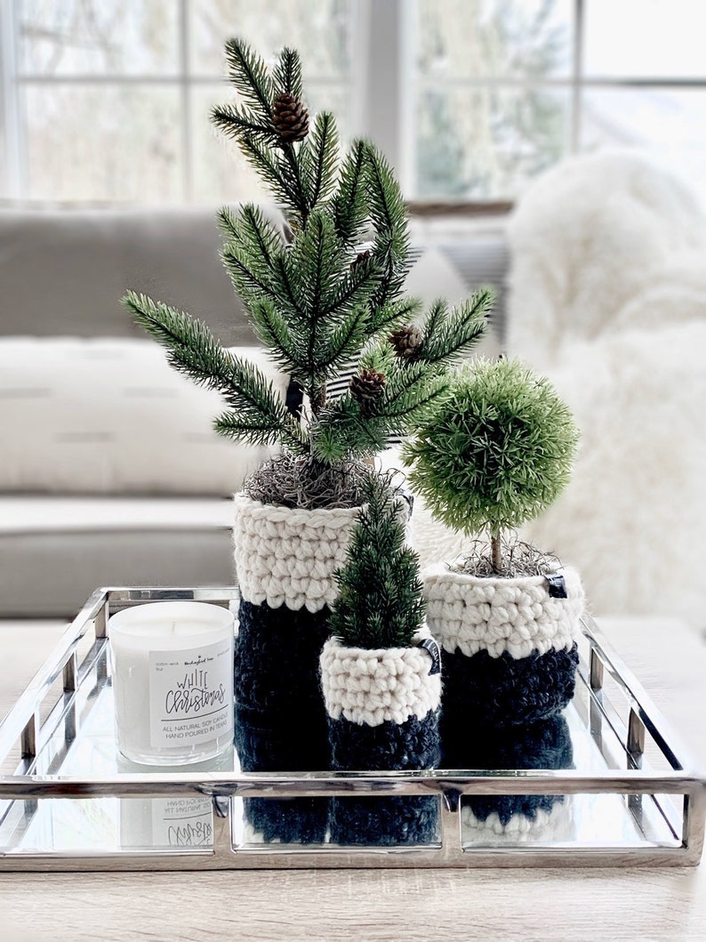 Faux MINI CHRISTMAS TREES with crochet planter sleeves  Set charcoal/ivory