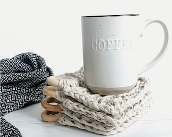 Modern Crochet Cotton Coaster Set With Decorative Wood Ring | Set of 4 | Ecru | THE PRESINA COASTERS