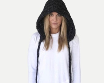 Chunky Crochet Pixie Hood Hat with ties   Charcoal Grey   THE CAPPA