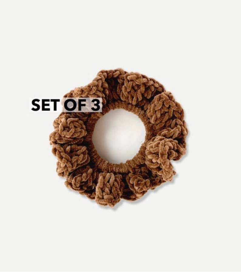SET OF 3  XL Crochet Velvet Hair Elastic Scrunchies image 0