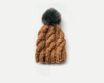 LUXURY | Chunky Knit Cabled Hat with detachable Faux Fur Pom | THE TRECCIA | Ready To Ship!