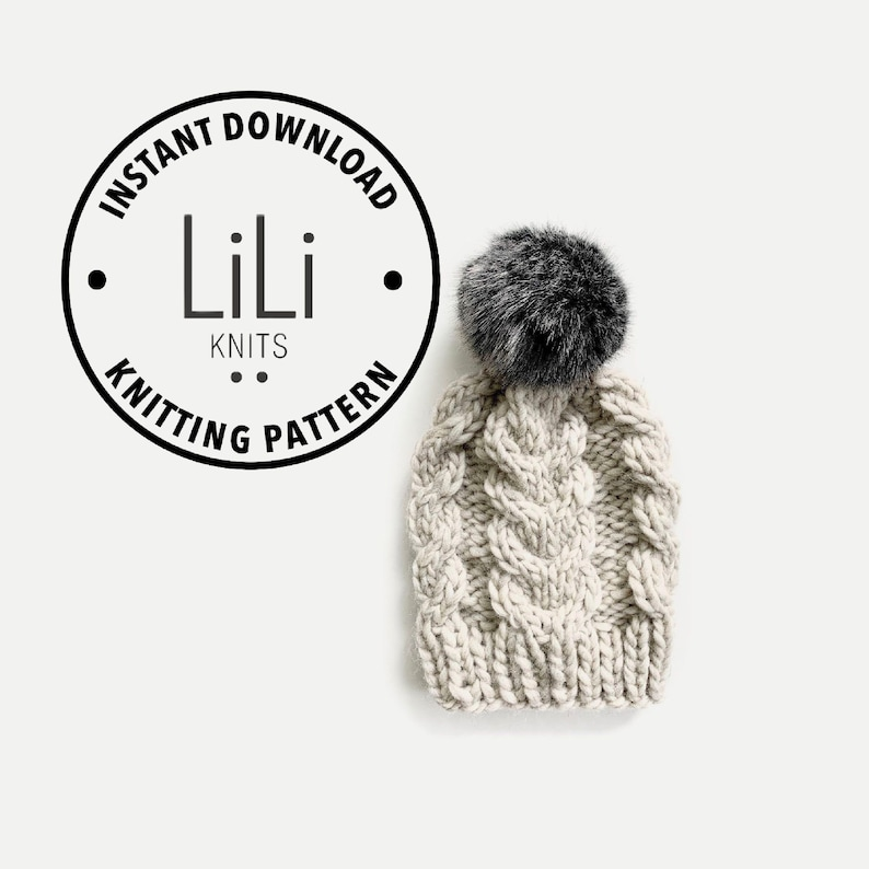 Pattern  LiLiKnits Chunky Knit Cable Beanie Hat  THE image 0