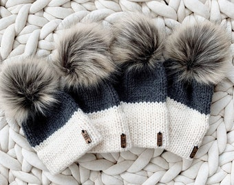 Two-Tone Double Brim Knit Beanie Hat with detachable Faux Fur Pom Newborn/Baby/Toddler/Child/Kids | THE BERRETTO
