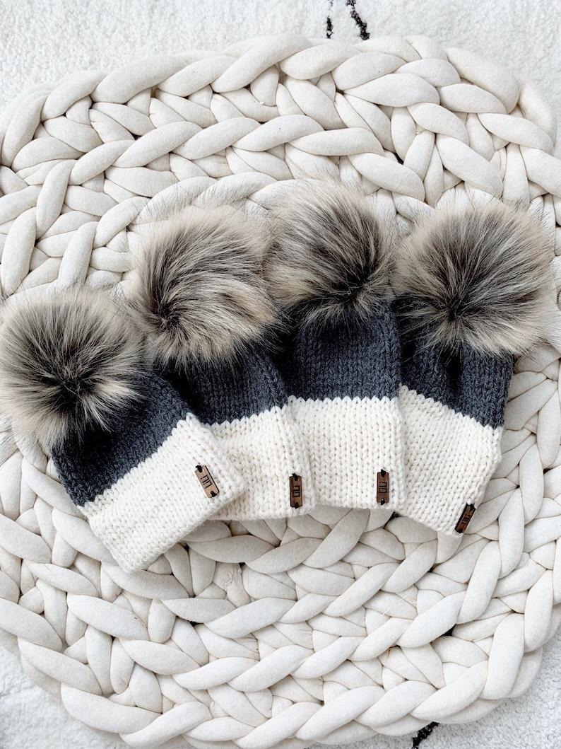 Two-Tone Double Brim Knit Beanie Hat with detachable Faux Fur image 0