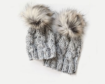 Chunky Knit Cabled Hat with detachable Faux Fur Pom Mommy + Me Set   Grey   THE TRECCIA