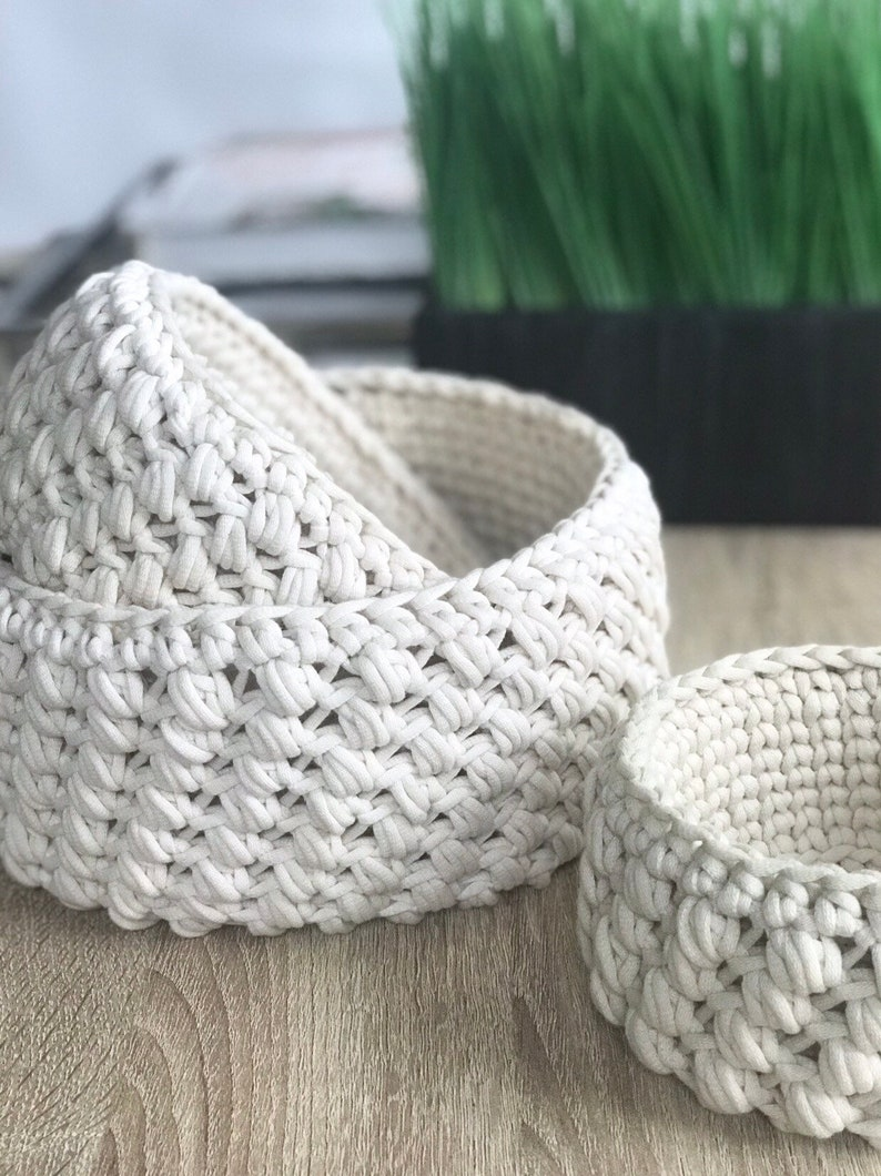 Modern Crochet Nesting Baskets  Set of 3  THE NIDO BASKET image 0