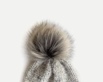 "XL Faux Fur Pom with Detachable Snap for Knit Crochet Hat | FAUX RACCOON 6"""