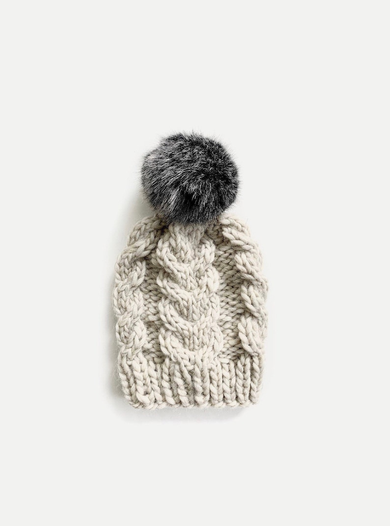 Chunky Knit Cabled Hat with detachable Fur Pom  THE FORCELLA image 0