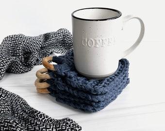 Modern Crochet Cotton Coaster Set With Decorative Wood Ring | Set of 4 | Denim Blue | THE PRESINA COASTERS