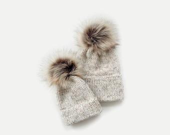 Double Brim Beanie Hat with detachable Faux Fur Pom | Mommy + Me Set | THE BERRETTO