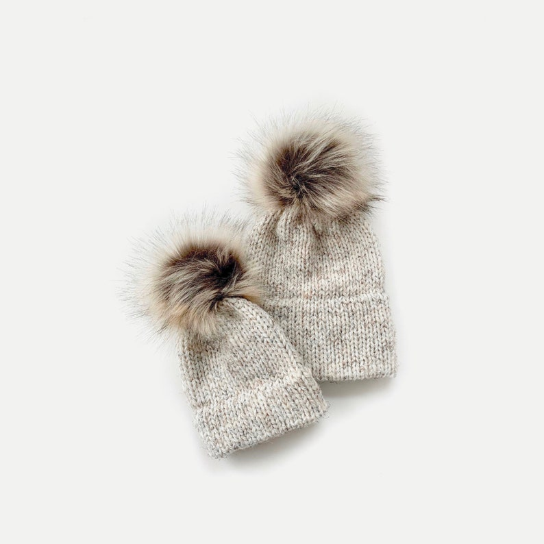 Double Brim Beanie Hat with detachable Faux Fur Pom  Mommy  Wheat